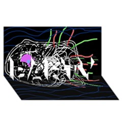 Neon fish PARTY 3D Greeting Card (8x4)