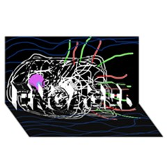 Neon fish ENGAGED 3D Greeting Card (8x4)