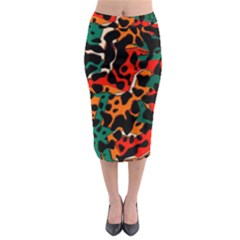 Metallic shapes in retro colors                                                                                        Midi Pencil Skirt