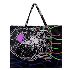 Neon fish Zipper Large Tote Bag
