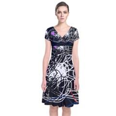 Neon fish Short Sleeve Front Wrap Dress