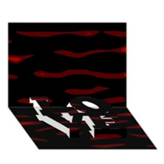 Red and black LOVE Bottom 3D Greeting Card (7x5)