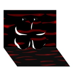 Red and black Clover 3D Greeting Card (7x5)