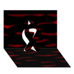 Red and black Ribbon 3D Greeting Card (7x5)
