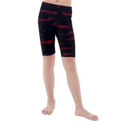 Red and black Kid s Mid Length Swim Shorts