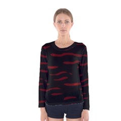 Red and black Women s Long Sleeve Tee
