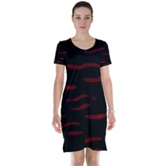 Red and black Short Sleeve Nightdress