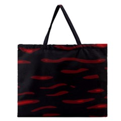 Red and black Zipper Large Tote Bag