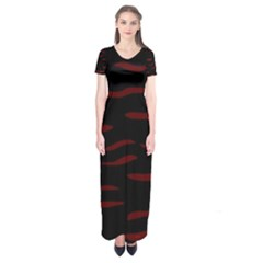 Red and black Short Sleeve Maxi Dress