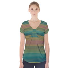 Watercolors                       Short Sleeve Front Detail Top