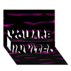 Purple and black YOU ARE INVITED 3D Greeting Card (7x5)