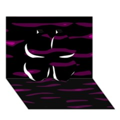 Purple and black Clover 3D Greeting Card (7x5)