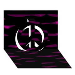 Purple and black Peace Sign 3D Greeting Card (7x5)