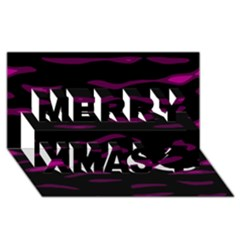 Purple and black Merry Xmas 3D Greeting Card (8x4)
