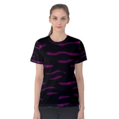 Purple and black Women s Cotton Tee