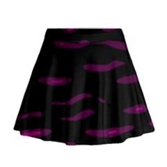 Purple And Black Mini Flare Skirt