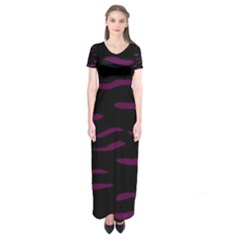 Purple and black Short Sleeve Maxi Dress