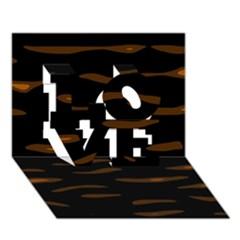 orange and black LOVE 3D Greeting Card (7x5)