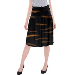 orange and black Midi Beach Skirt