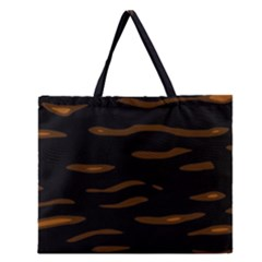 orange and black Zipper Large Tote Bag