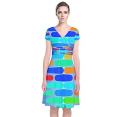 Colorful shapes on a blue background                                                      Short Sleeve Front Wrap Dress
