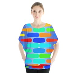 Colorful shapes on a blue background             Batwing Chiffon Blouse