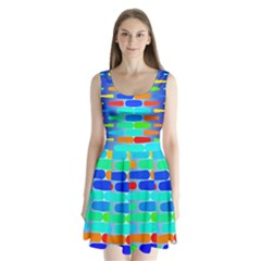 Colorful shapes on a blue background    Split Back Mini Dress