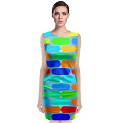 Colorful Shapes On A Blue Background                                          Classic Sleeveless Midi Dress