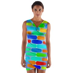 Colorful shapes on a blue background                        Wrap Front Bodycon Dress