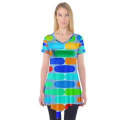 Colorful Shapes On A Blue Background                Short Sleeve Tunic