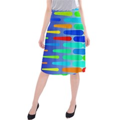 Colorful shapes on a blue background                           Midi Beach Skirt