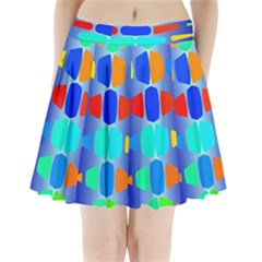 Colorful Shapes On A Blue Background                 Pleated Mini Mesh Skirt