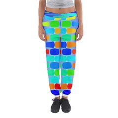 Colorful shapes on a blue background                                                                                       Women s Jogger Sweatpants
