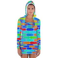Colorful Shapes On A Blue Background                                                                                       Women s Long Sleeve Hooded T Shirt