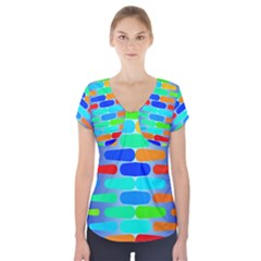 Colorful Shapes On A Blue Background                        Short Sleeve Front Detail Top