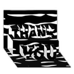 Black and white THANK YOU 3D Greeting Card (7x5)