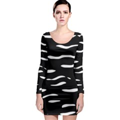 Black and white Long Sleeve Bodycon Dress