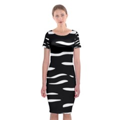 Black and white Classic Short Sleeve Midi Dress