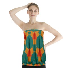 Honeycombs and triangles pattern                        Strapless Top