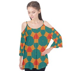Honeycombs and triangles pattern   Flutter Sleeve Tee