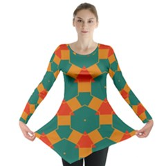 Honeycombs And Triangles Pattern                                                                                       Long Sleeve Tunic
