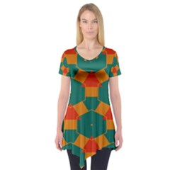 Honeycombs and triangles pattern                Short Sleeve Tunic