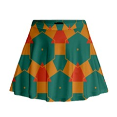 Honeycombs And Triangles Pattern                                                                                         Mini Flare Skirt