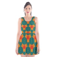 Honeycombs and triangles pattern                                                                                       Scoop Neck Skater Dress