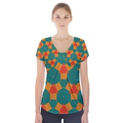 Honeycombs And Triangles Pattern                        Short Sleeve Front Detail Top