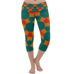 Honeycombs and triangles pattern           Capri Yoga Leggings