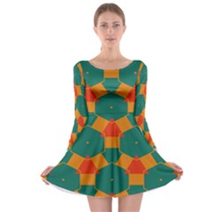 Honeycombs and triangles pattern                                                                                       Long Sleeve Skater Dress