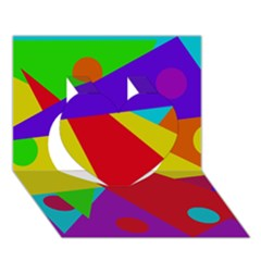 Colorful Abstract Design Heart 3d Greeting Card (7x5)