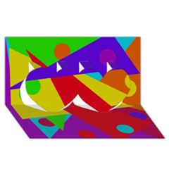 Colorful abstract design Twin Hearts 3D Greeting Card (8x4)