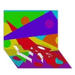Colorful abstract design LOVE Bottom 3D Greeting Card (7x5)